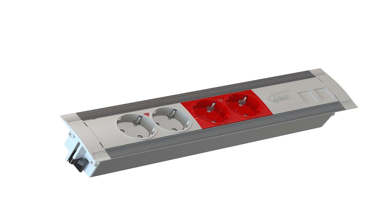 Regleta easyblock inside para pared o mobiliario con 2 - Regleta para cables ...