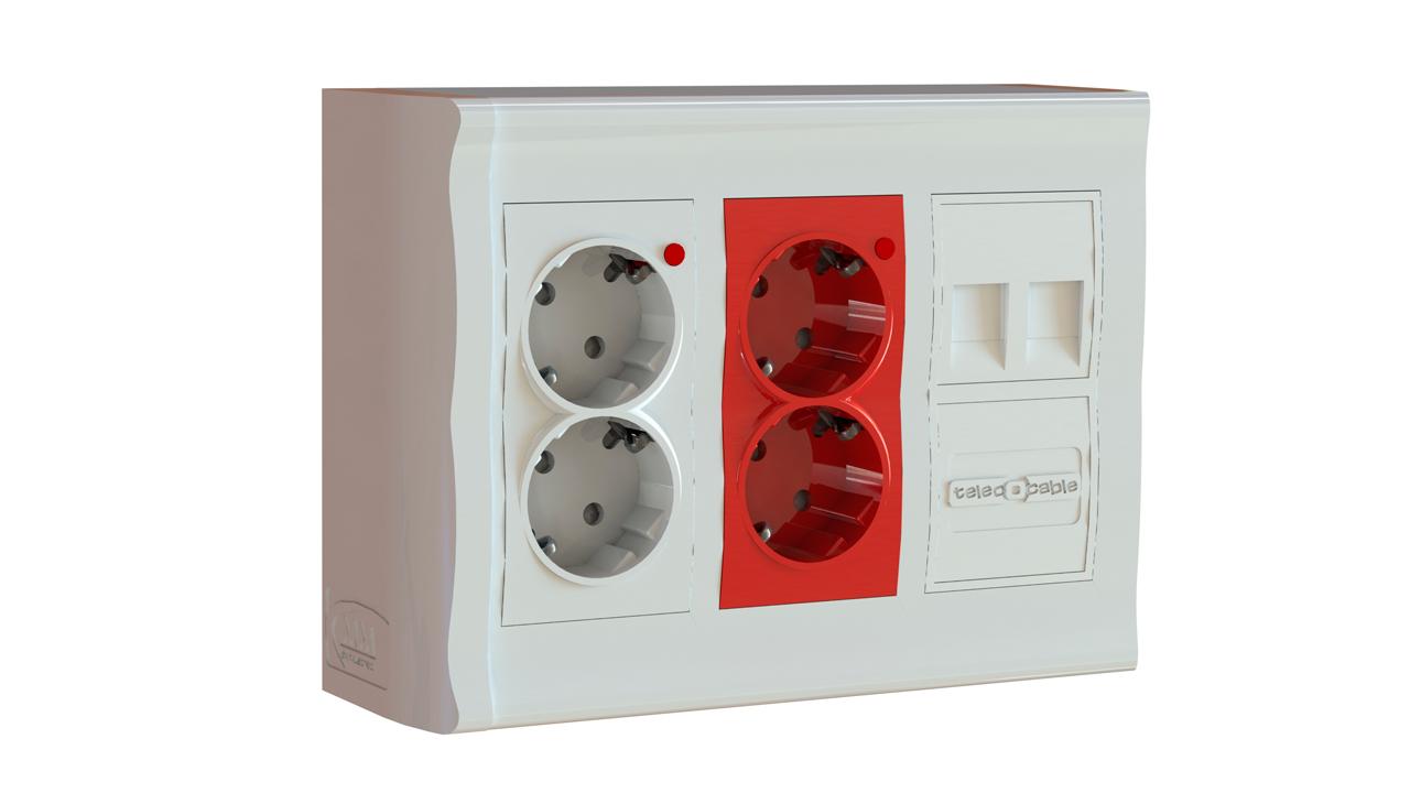caja de superficie 3 modulos 2 enchufes blanco 2
